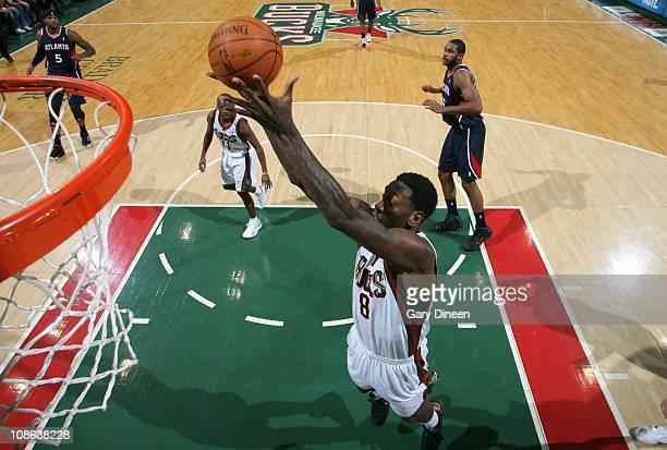 Milwaukee Bucks power forward Larry Sanders goes to the basket during the game against the Atlanta Hawks on January 26 2011 at the Bradley Center in...