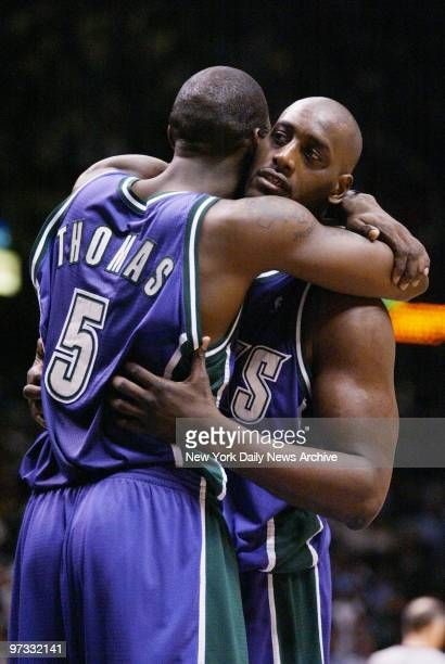 Milwaukee Bucks' Tim Thomas hugs teammate Anthony Mason after defeating the New Jersey Nets 8885 in Game 2 of the Eastern Conference Quarterfinals at...