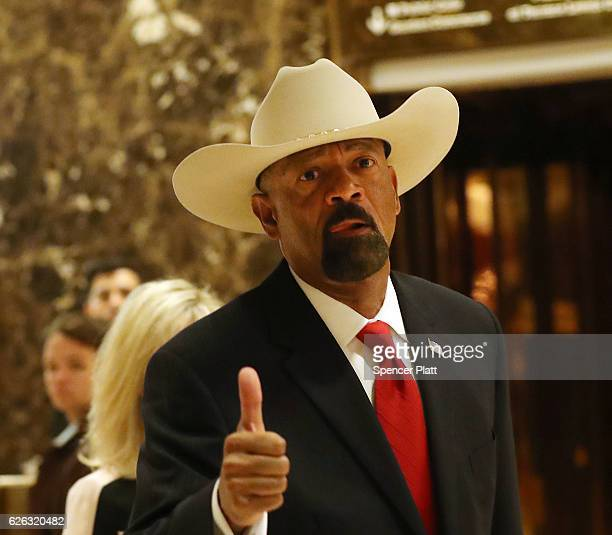 Milwaukee County Sheriff David Clarke leaves Trump Tower on November 28 2016 in New York City Presidentelect Donald Trump and his transition team are...