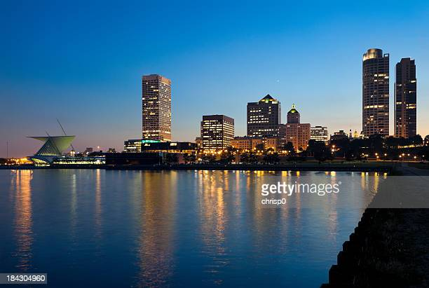 Milwaukee Lakefront and Skyline at Dusk