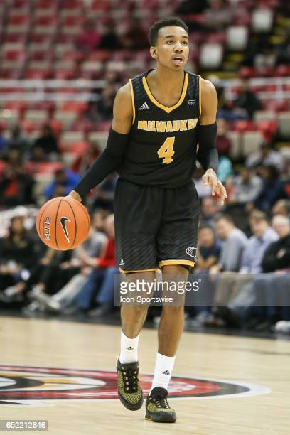 Milwaukee Panthers guard Jeremy Johnson brings the ball upcourt during the Horizon League championship game between the Milwaukee Panthers and the...