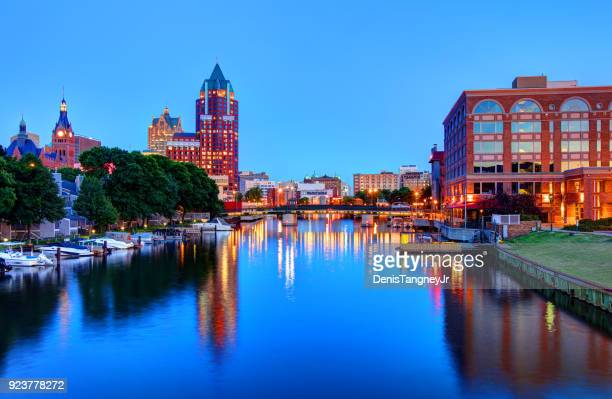 milwaukee riverwalk - wisconsin stock pictures, royalty-free photos & images