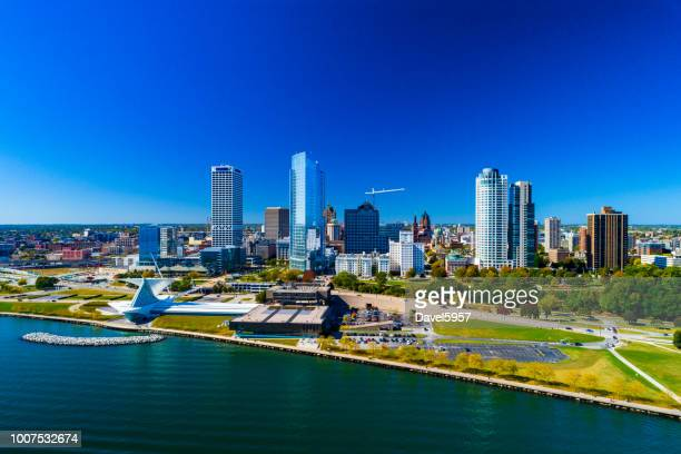 milwaukee skyline and shoreline aerial - wisconsin stock pictures, royalty-free photos & images