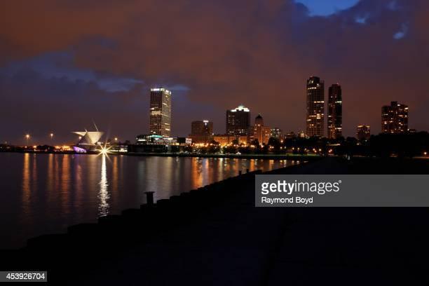 Milwaukee Skyline at night on August 16 2014 in Milwaukee Wisconsin