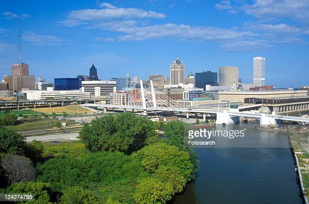 Milwaukee skyline with Menomonee River in foreground