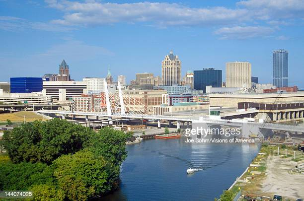 Milwaukee skyline with Menomonee River in foreground WI