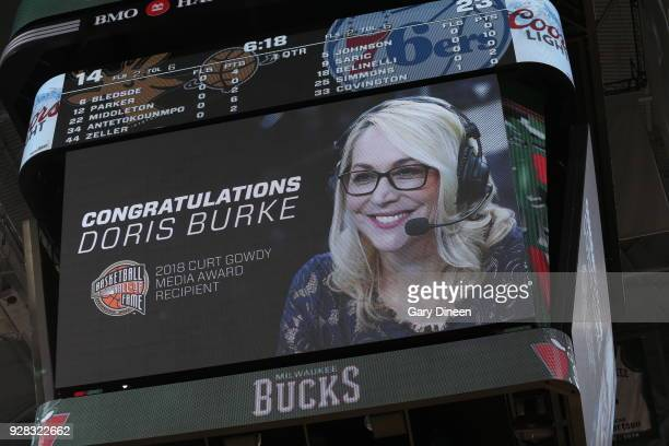 Milwaukee WI MARCH 4 Doris Burke is seen on the jumbo tron during the game between the Philadelphia 76ers and Milwaukee Bucks on March 4 2018 at the...