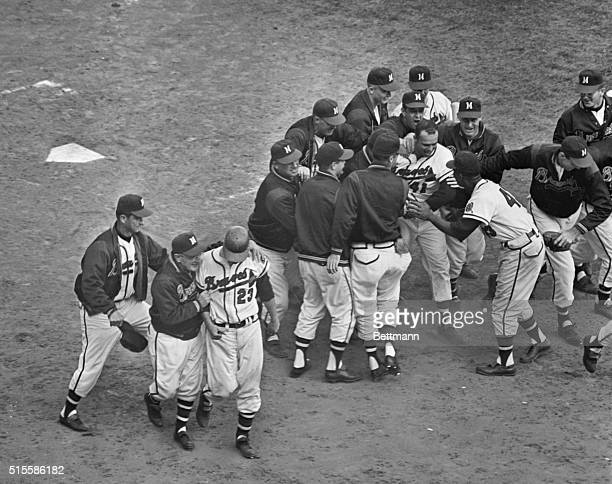 Milwaukee WI No one in Milwaukee cared two whoops in a rainbarrel for the Soviet satellite or anything else when Eddie Mathews of the Braves snatched...