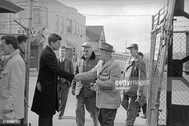Early Start Senator John F Kennedy greets workers entering the Allis Chalmers Manufacturing Plant here early April 5ththe date of Wisconsin's...
