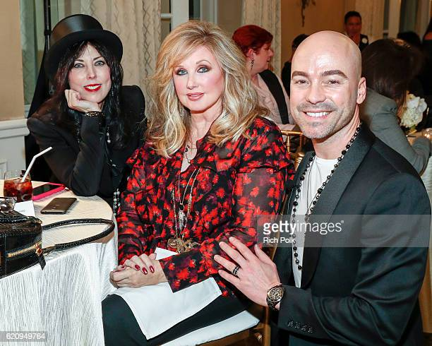 Mim Flynn actress Morgan Fairchild and Chanel Education Executive RC Stephens attend the Vanity Fair Chanel Beauty Cocktail Event at The Peninsula...