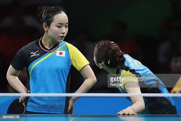 Mima Ito and Ai Fukuhara of Japan compete against Poland during the Women's Team Round 1 on Day 7 of the Rio 2016 Olympic Games at Riocentro Pavilion...
