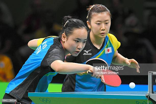 Mima Ito and Ai Fukuhara of Japan compete against Shan Xiaona and Petrissa Solja of Germany in the Women's Team Semifinal between Japan and Germany...