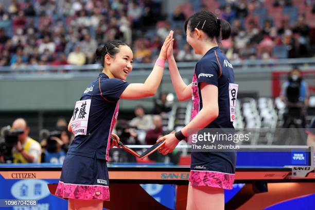 Mima Ito and Hina Hayata celebrate winning the Women's Doubles final against Saki Shibata and Satsuki Odo on day six of the All Japan Table Tennis...