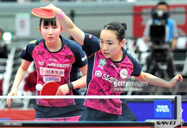 Mima Ito and Hina Hayata compete in the Women's Doubles final against Saki Shibata and Satsuki Odo on day six of the All Japan Table Tennis...