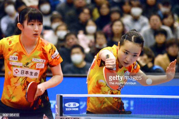 Mima Ito and Hina Hayata compete in the Women's Doubles final against Yuka Umemura and Maki Shiomi during day six of the All Japan Table Tennis...