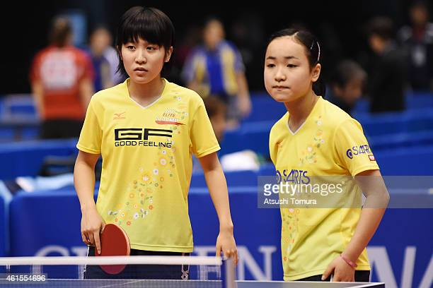 Mima Ito and Miu Hirano of Japan competes in the Women's Doubles during the day four of All Japan Table Tennis Championships 2015 at Tokyo...