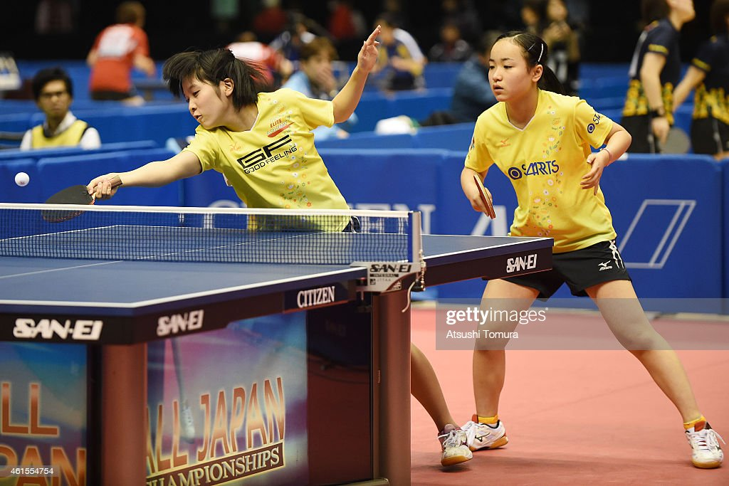 Mima Ito (R) and Miu Hirano (L) of Japan competes in the Women's Doubles during the day four of All Japan Table Tennis Championships 2015 at Tokyo Metropolitan Gymnasium on January 15, 2015 in Tokyo, Japan.