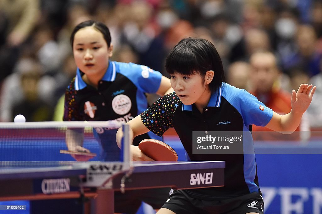 Mima Ito (L) and Miu Hirano (R) of Japan competes in the Women's Doubles during the on day five of All Japan Table Tennis Championships 2015 at Tokyo Metropolitan Gymnasium on January 16, 2015 in Tokyo, Japan.