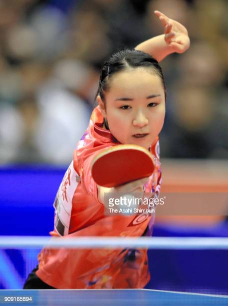 Mima Ito competes in the Women's Signles semi final against Kasumi Ishikawa during day seven of the All Japan Table Tennis Championships at the Tokyo...