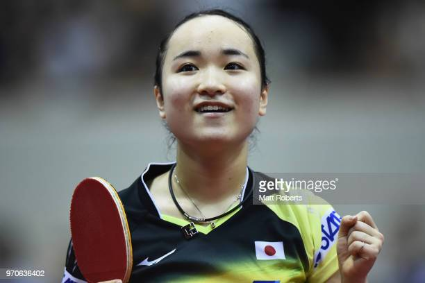 Mima Ito of Japan celebrates victory against Xingtong Chen of China during the women's semifinal match on day three of the ITTF World Tour LION Japan...