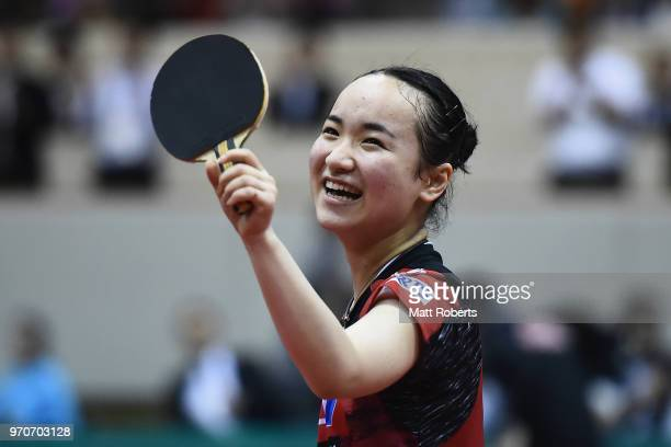 Mima Ito of Japan celebrates winning the women's singles final against Manyu Wang of China on day three of the ITTF World Tour LION Japan Open...