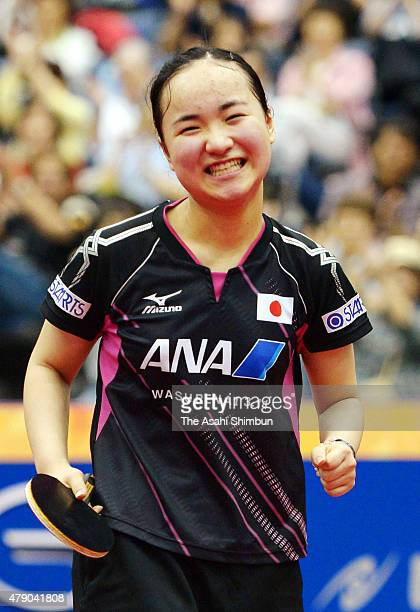 Mima Ito of Japan celebrates winning the Women's Singles first round against Liu Fei during day three of the ITTF World Tour Super Series Japan Open...