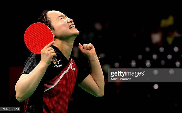 Mima Ito of Japan celebrates winning the Womens Team Bronze Medal match on Day 11 of the Rio 2016 Olympic Games at the Riocentro Pavilion 3 on August...