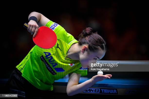 Mima Ito of Japan competes against Choi Hyojoo of Korea Republic during Women's Teams singles - Semifinals - Match 2 on day four of the ITTF Team...