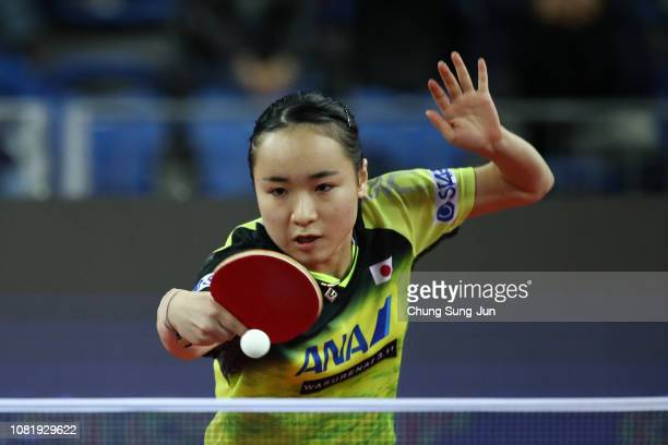 Mima Ito of Japan competes against IChing Cheng of Taiwan in the Women's Singles Round of 16 during day one of the World Tour Grand Finals at Namdong...
