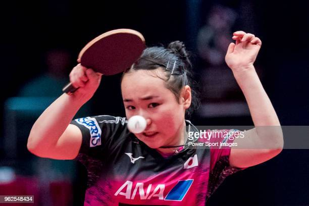 Mima Ito of Japan competes against Lee Eunhye of South Korea during women's singles quarterfinals of Table Tennis Hang Seng Hong Kong Open on May 26...