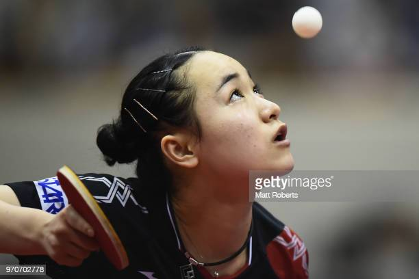 Mima Ito of Japan competes against Manyu Wang of China during the women's singles final on day three of the ITTF World Tour LION Japan Open Ogimura...