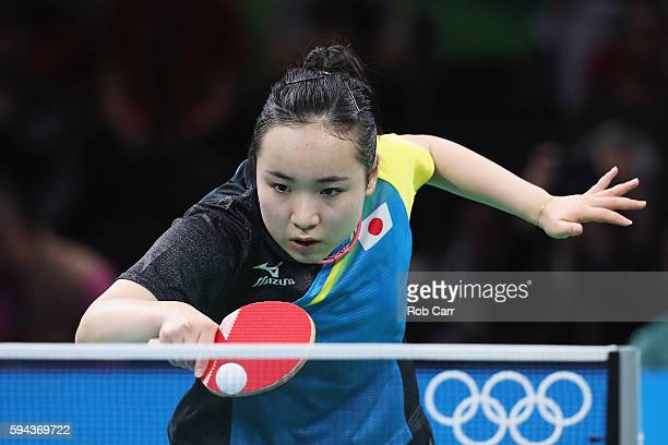 Mima Ito of Japan competes against Poland during the Women's Team Round 1 on Day 7 of the Rio 2016 Olympic Games at Riocentro Pavilion 3 on August 12...