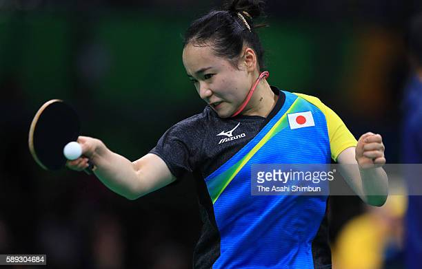 Mima Ito of Japan competes against Poland in the Women's Team Round 1 on Day 7 of the Rio 2016 Olympic Games at Riocentro Pavilion 3 on August 12...