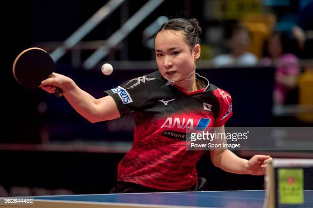 Mima Ito of Japan competes against Wang Manyu of China during the women's singles semifinals match of Table Tennis Hang Seng Hong Kong Open on May 26...