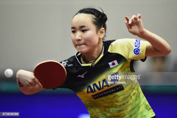 Mima Ito of Japan competes against Xingtong Chen of China during the women's semifinal match on day three of the ITTF World Tour LION Japan Open...