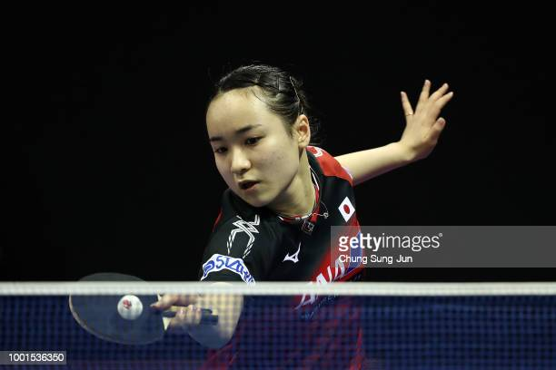 Mima Ito of Japan competes against Yuting Gu of China in the Women Single round of 32 on day one of the Shinhan Korea Open at Daejeon Hanbat Stadium...