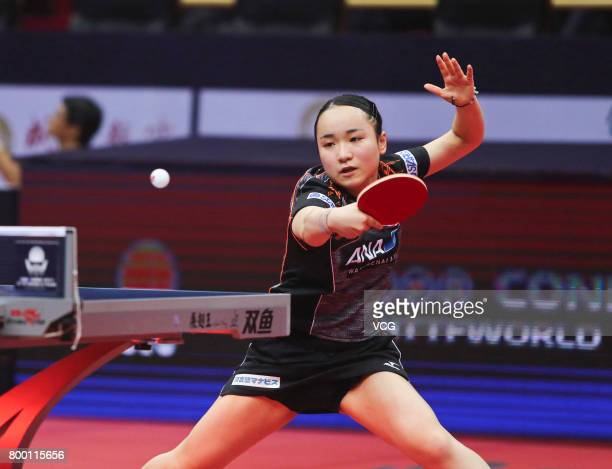 Mima Ito of Japan competes during the women's singles second round match against Ding Ning of China on the day two of the 2017 ITTF World Tour China...