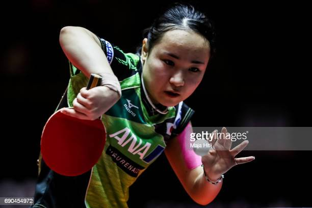 Mima Ito of Japan competes during Women Single 1 Round at Table Tennis World Championship at Messe Duesseldorf on May 31 2017 in Dusseldorf Germany