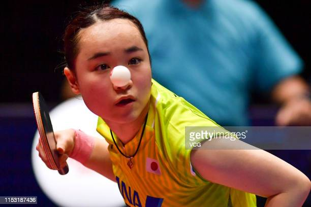 Mima Ito of Japan competes in the Women's Singles semifinal match against Wang Manyu of China on day six of the Seamaster 2019 ITTF World Tour...