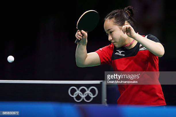 Mima Ito of Japan hits a shot in the Table Tennis practice session during the Olympics preview day 1 at Rio Centro on August 4 2016 in Rio de Janeiro...