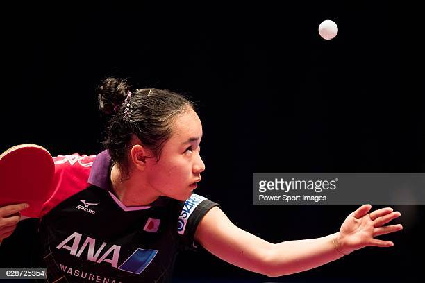 Mima Ito of Japan in action against Ying Hang of Germany in their Women's Singles Round of 16 match during the Seamaster Qatar 2016 ITTF World Tour...