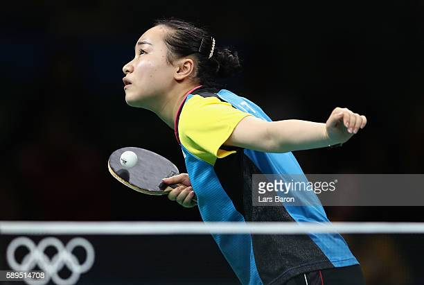 Mima Ito of Japan in action during the Women's Team Semifinal 2 against Petrissa Solja of Germany on Day 9 of the Rio 2016 Olympic Games at Riocentro...