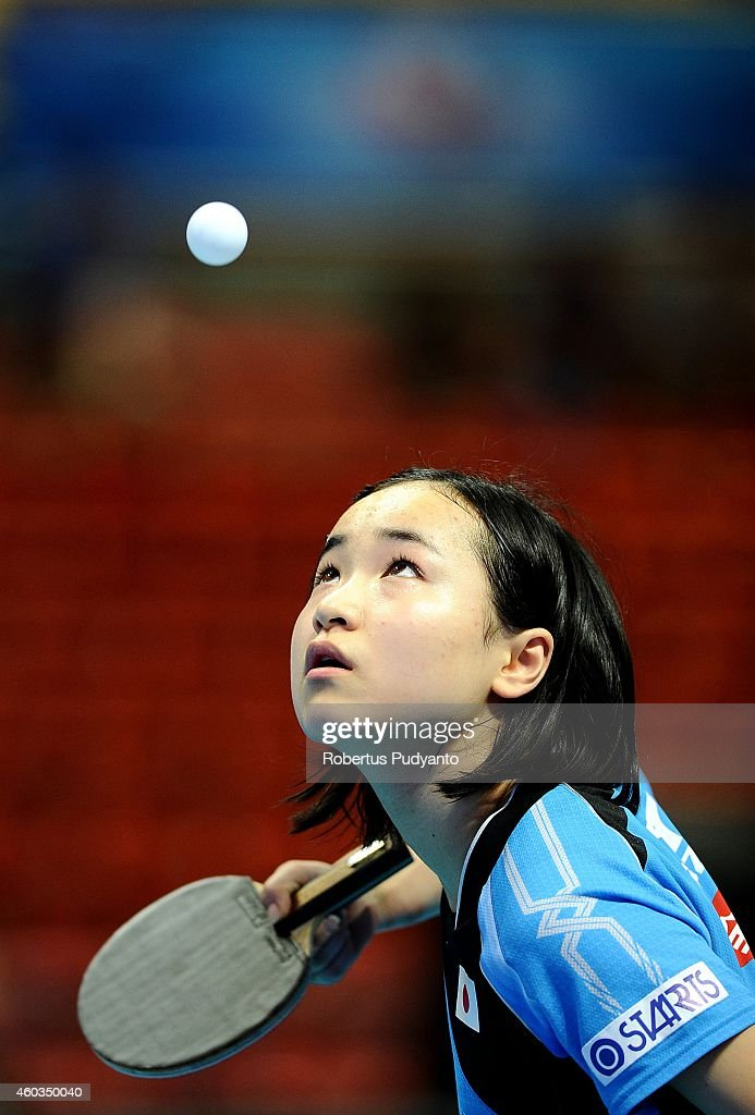 Mima Ito of Japan in action during U21 Women's singles semi final of the 2014 ITTF World Tour Grand Finals at Huamark Indoor Stadium on December 12, 2014 in Bangkok, Thailand.