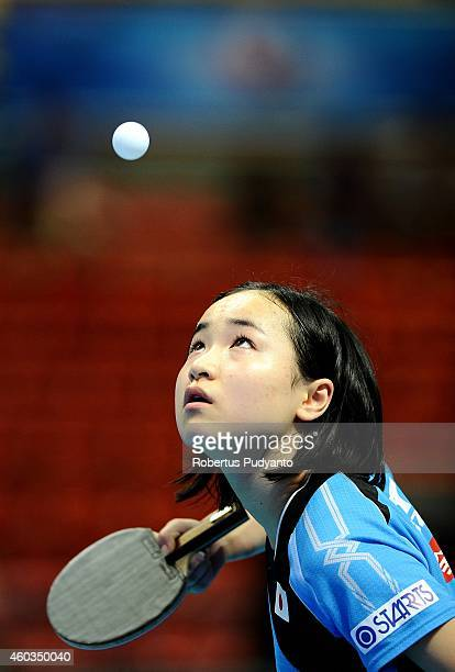 Mima Ito of Japan in action during U21 Women's singles semi final of the 2014 ITTF World Tour Grand Finals at Huamark Indoor Stadium on December 12...