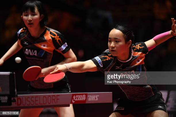 Mima Ito of Japan receives the ball in women doubles final at Messe Duesseldorf on June 5 2017 in Dusseldorf Germany