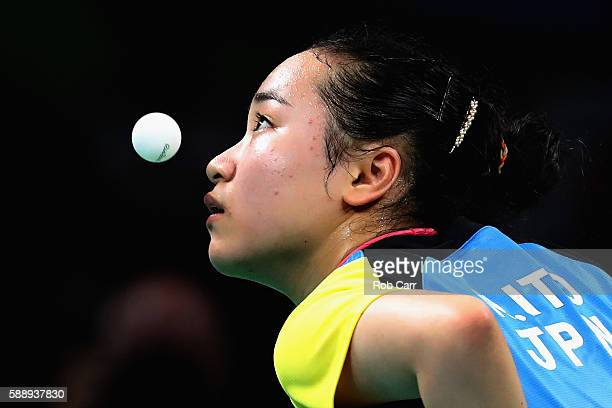 Mima Ito of Japan serves to Poland during the Women's Team Round 1 on Day 7 of the Rio 2016 Olympic Games at Riocentro Pavilion 3 on August 12 2016...