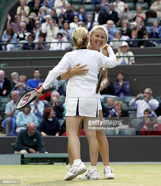 Mima Jausovec of Slovakia and Jana Novotna of Czech Republic after winning their Ladies' 35 and over doubles final match against Jo Durie of Great...