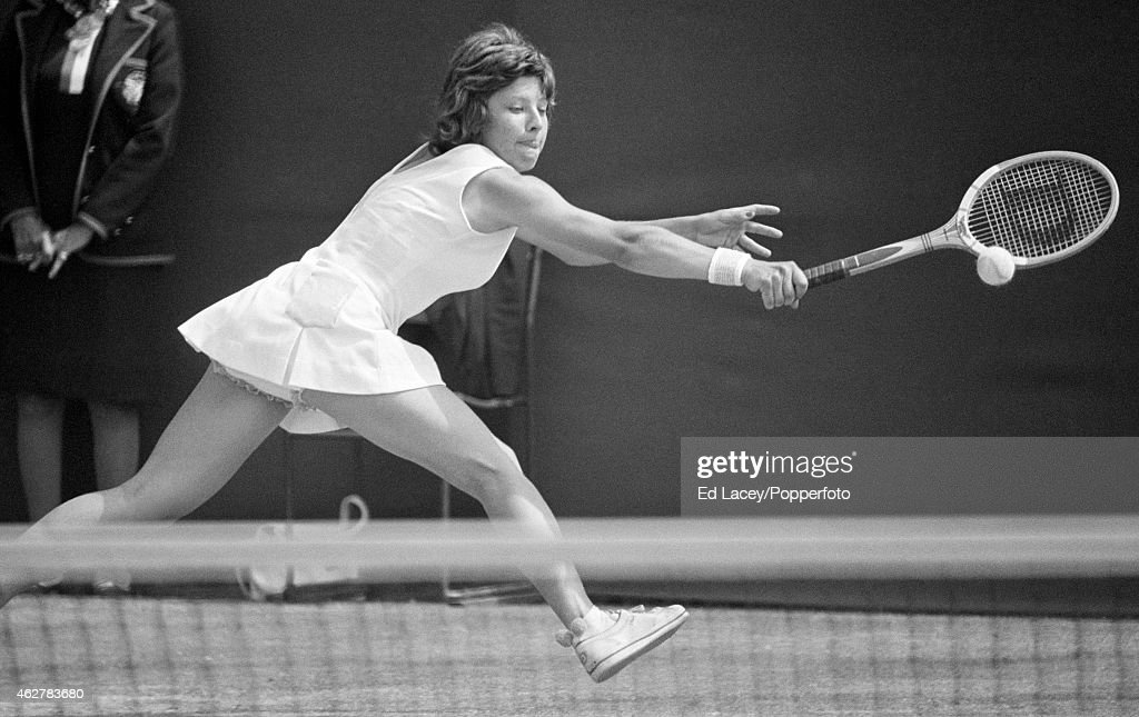 Mima Jausovec of Yugoslavia in action at Wimbledon, circa June 1975. Jausovec lost in the fourth round to Olga Morozova of Russia in straight sets.