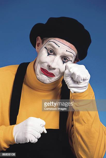 mime crying - sad clown stock photos and pictures