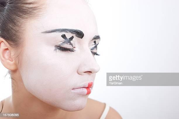 Artista de mímica maquillaje